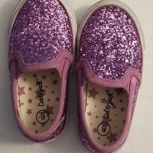 Cat & Jack toddler size 6 purple glittery slip ons